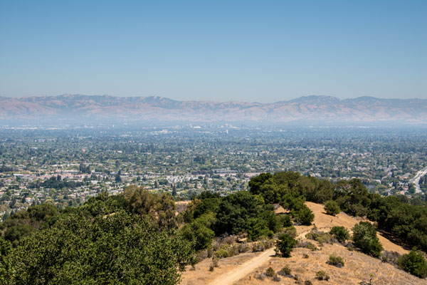 A view of the San Francisco Bay Area from Mission Peak Regional Preserve in Fremont, CA.